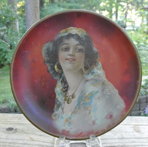 1912 Advertising Portrait Plate Gypsy Woman Round Wall Hanging