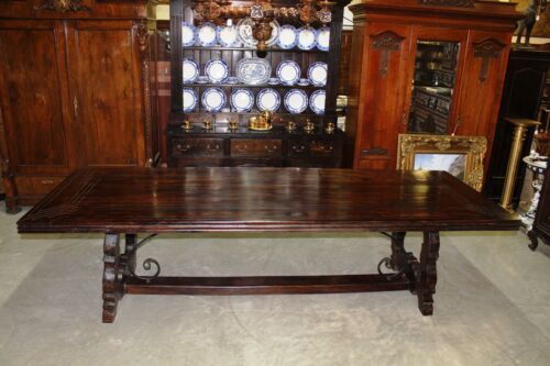 Antique Style Country French 10ft Handmade Solid Hardwood Dining Table Iron Base