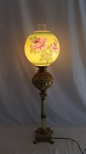 Antique Parlor,Banquet,GWTW Gilt Oil Lamp,Painted Roses Shade,Marble,Electrified