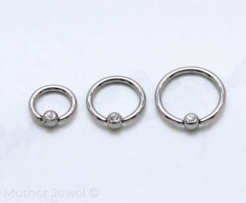 16G SILVER SURGICAL STEEL 3MM CZ BALL CBR BCR EAR NOSE SEPTUM DAITH HELIX RING
