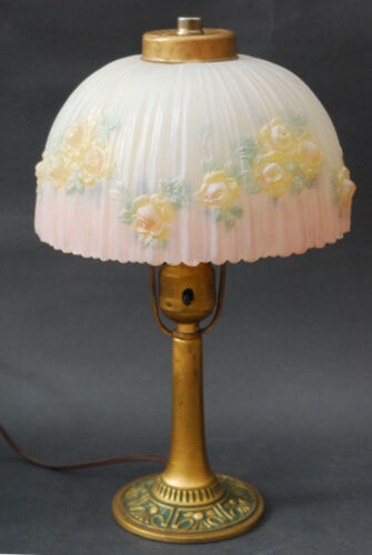 CLASSIC CAST METAL ART DECO LAMP  PUFFY REVERSE PAINTED SHADE BOUDOIR