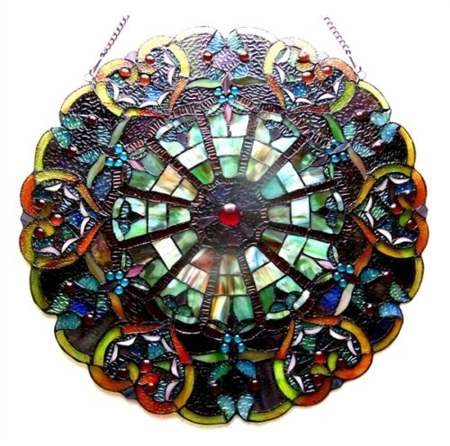 """23"""" Round Multi-Color Tiffany Style Stained Glass Victorian Design Window Panel"""