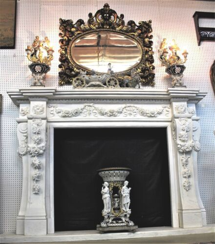 Large Hand Carved Carerra Marble Country French Fireplace Mantel Columns & Roses