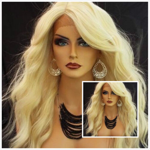 Handmade Lace Front Wig Hot New Fashion Women's Long Light Blonde Wavy Full Wigs