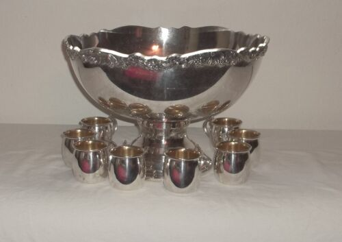 TOWLE SILVER-PLATE LARGE PUNCH BOWL AND 8-CUPS NICE