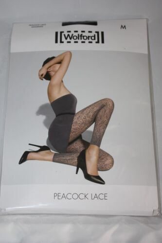 Wolford ~ PEACOCK LACE  ~ footless tights BNWT ~ XSmall UK 6/8 black