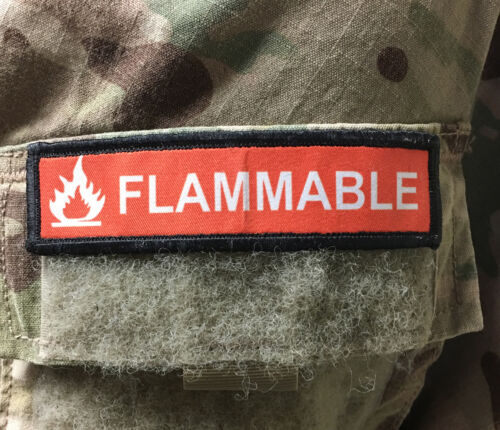1x4 Flammable Morale Patch Tactical Military Army USA Flag Hook Badge Other Current Military Patches - 36070