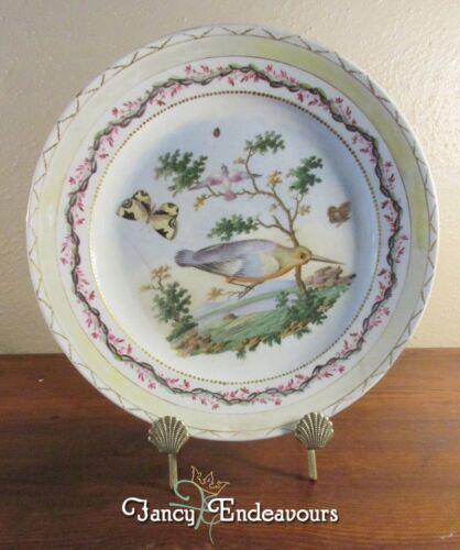 18th Century Sevres France Style Hand Painted Plate Butterfly Birds Tree Ladybug