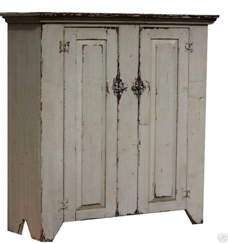PRIMITIVE JELLY CUPBOARD COUNTRY FARMHOUSE PAINTED CABINET RUSTIC PINE COLONIAL