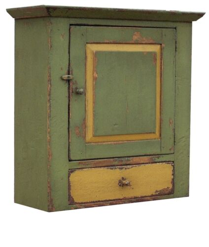 PAINTED PRIMITIVE DISTRESSED HANGING RUSTIC WALL CUPBOARD CABINET FARMHOUSE PINE