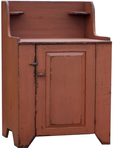 PRIMITIVE FARMHOUSE WASHSTAND VANITY PAINTED DRY SINK CABINET CUPBOARD RUSTIC