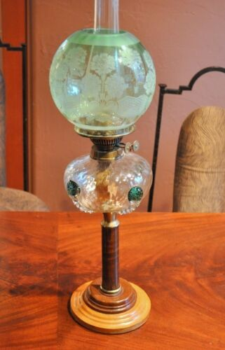 Rare Antique Paris 1900 Deco Lamp  ART NOUVEAU  Colored Glass Wood France Gem