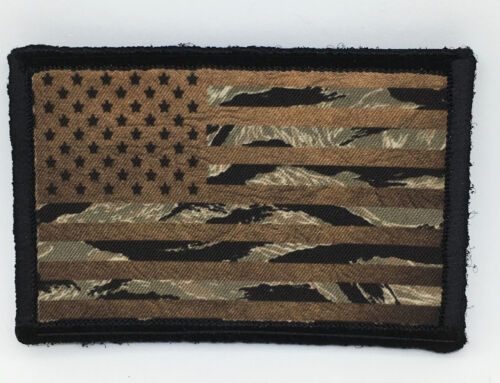 Brown & Tiger Stripe Camo USA Flag Morale Patch Tactical ARMY Military SubduedArmy - 48824