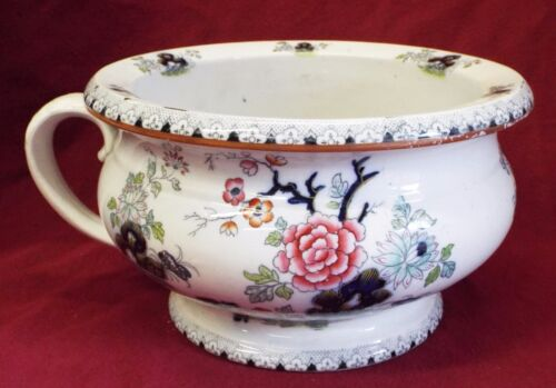 RARE Early Antique THOMAS POOLE STAFFORDSHIRE POTTERY Floral Pattern CHAMBER POT