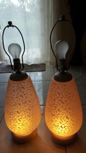 Pair of mid-century murano pink lamps