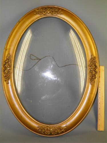 ANTIQUE WOOD & GESSO CARVED FLORAL BUBBLE GLASS OVAL PICTURE PAINTING FRAME 23''
