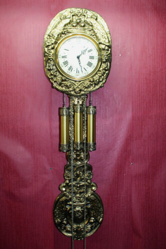 ***Old Big Clock Comtoise Westminster 3 Weight Brass Chime clock***PERFECT