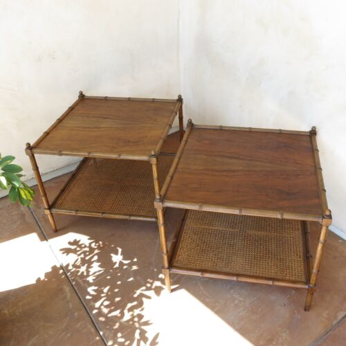 2 BAKER FURNITURE (Milling Road) Vintage OCCASIONAL SIDE END TABLES Faux Bamboo