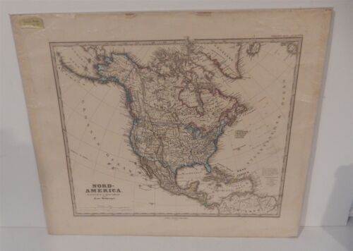 Antique 1876 German Map of North America Stielers Hand Atlas