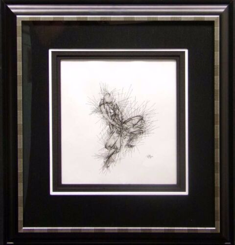 "Guillaume Azoulay ""Untitled""Original Pen & Ink Drawing On Paper OBO custom frame"