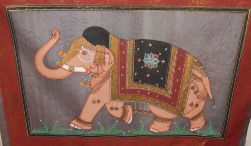 VINTAGE INDIA ELEPHANT ORIGINAL WATERCOLOR ON SILK PAINTING UNSIGNED