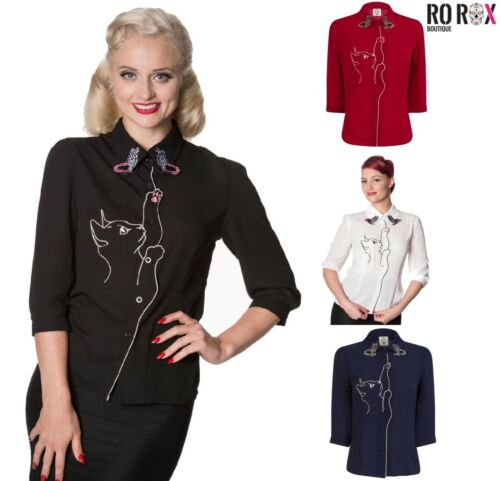 Dancing Days Banned Snow Bird Cat Butterfly Retro Vintage 50's Shirt Blouse Top <br/> FREE 1ST CLASS UK POST - SAME DAY DISPATCH (before 2pm)
