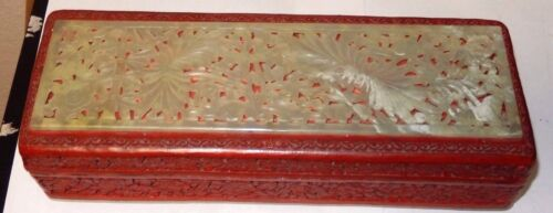 OLD CHINESE CINNABAR LACQUER CARVED FLORAL SERPENTINE WHITE JADE FOOTED BOX