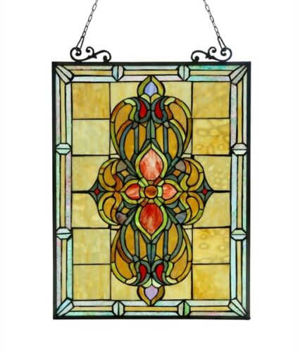 Matching PAIR Medallion Design Tiffany Style Stained Glass Window Panel 18 x 25