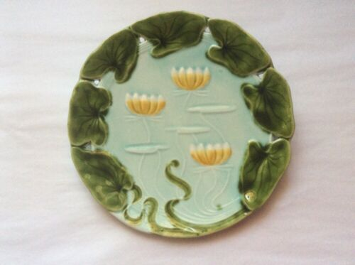 Antique Art Nouveau Majolica Water Lilies & Leaves Plate, gm604  GIFT QUALITY!!