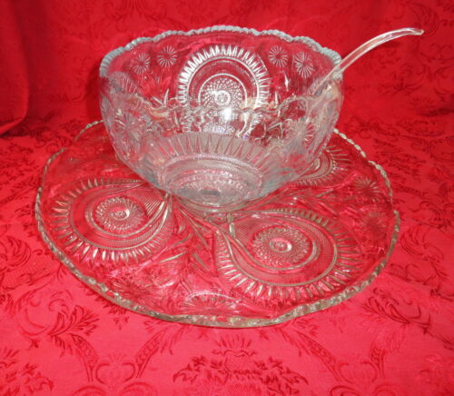 VTG AMERICAN BRILLIANT CLEAR GLASS HORSESHOE PUNCH BOWL UNDERPLATE AND 25 CUPS