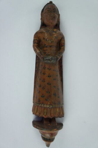 "Antique Wooden Indian Hindu Carved Woman Figurine ca. 1900 8"" [Y8-W6-A8]]"