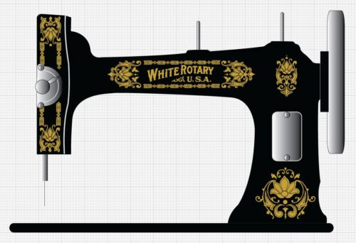 Faux White Rotary Sewing Machine Restoration Decals Gold Metallic 41021