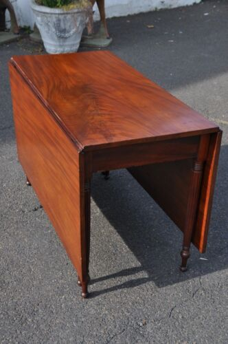 """Sheraton Mahogany Drop Leaf Dining Table 22 1/4"""" Wide Boards"""