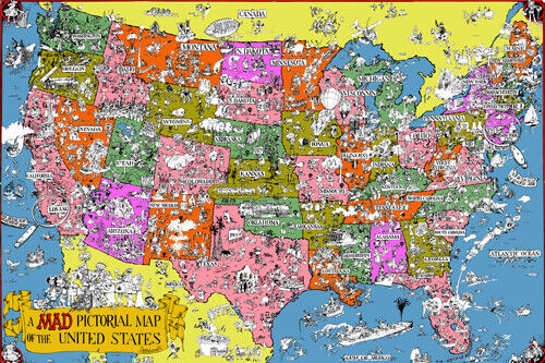 MAD MAGAZINE PICTORIAL MAP OF THE USA poster colorful funny original  24X36-PY1