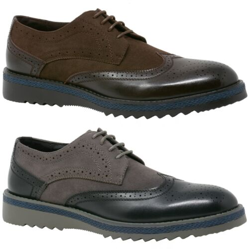"""Alpine Swiss Alec Men's Wingtip Shoes 1.5"""" Ripple Sole Leather Insole & Lining"""