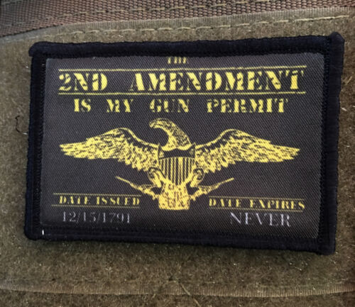 2A Morale Patch Gun permit Patriot Tactical Military USA Hook Badge Army FlagArmy - 48824