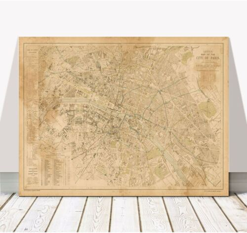 """Vintage Illustrated Street Map of PARIS 1883 Poster CANVAS PRINT 36x24"""" - France"""