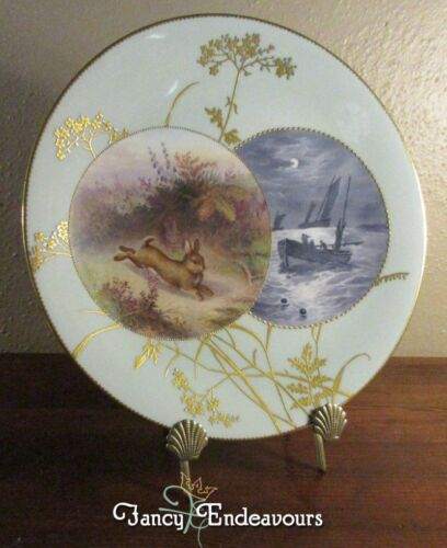 Mintons Aesthetic Movement Hand Painted Plate Rabbit & Nautical Scenes