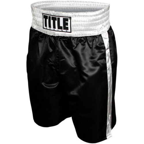 Title Professional Boxing Trunks - Black/Silver <br/> Exclusive Seller of TITLE Boxing on eBay