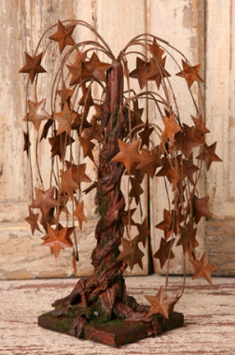 New Primitive Country RUSTY STARS WILLOW TREE of Life Folk Art