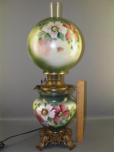 FOSTORIA GONE WITH THE WIND OIL LAMP PAINTED FLORAL CONVERTED ILLUMINATED BOTTOM