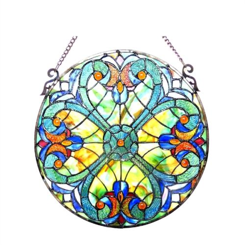"Tiffany Style Stained Cut Glass 20"" Diameter Round Window Panel Stunning Design"