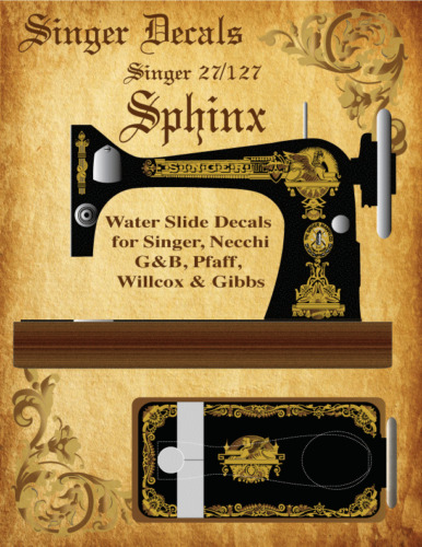 Singer Model 27 127  Sphinx Style Sewing Machine Restoration Decals  2 Color