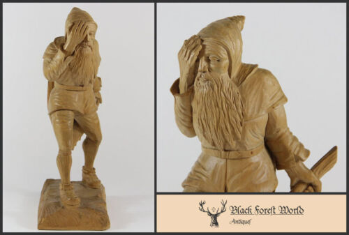 black forest  hand carved wood gnome with axe 1900