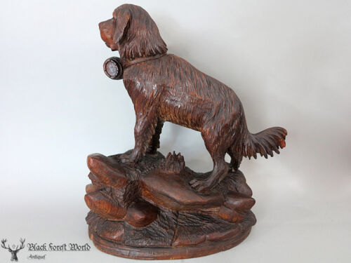 black forest  hand carved wood St Bernard Dog 1880