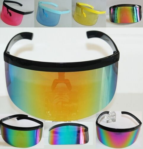 XL Oversized Huge Mono Mirrored or Clear Lens Futuristic Visor Shield Sunglasses
