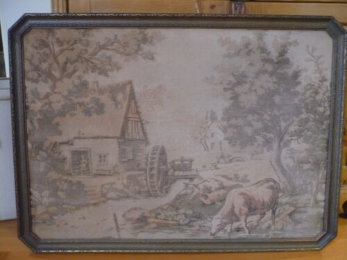 Antique Framed French Tapestry - Country Scene - Stone House, Water Wheel, Cows