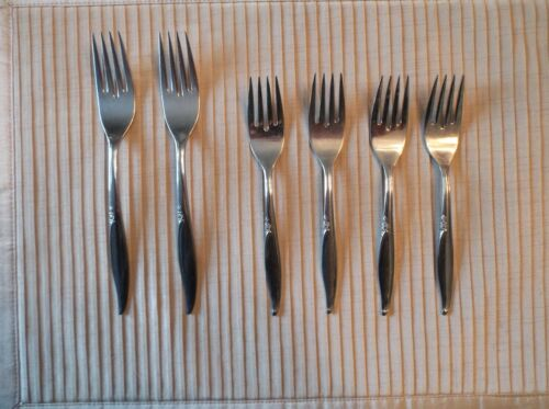 "2 Dinner Forks & 4 Salad Forks, Kenwood Stainless Steel Flatware, ""Forever Rose"""