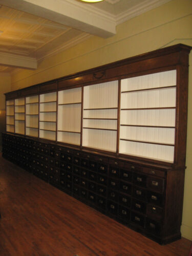 WeShip!30 Ft Oak Pharmacy Apothecary Cabinet Display 133Drwr 1890-1900 Original