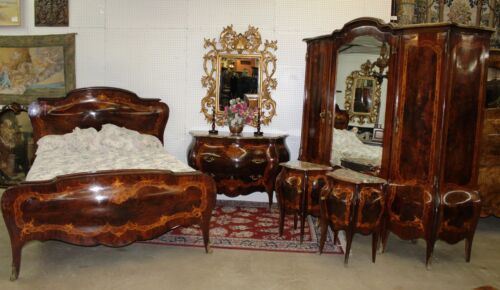 Antique Country French Bombay Burl Walnut Five Piece Bedroom Set Queen Bed
